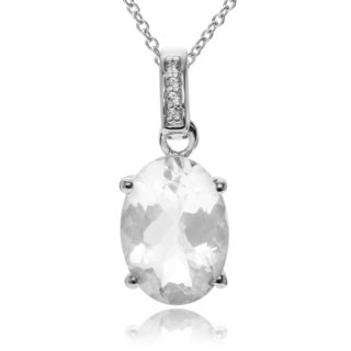 Journee Collection Sterling Silver Quartz Topaz Oval Pendant