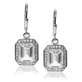 Journee Collection Sterling Silver Gemstone Dangle Earrings