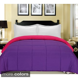 Reversible Solid Color Microfiber Down Alternative Comforter