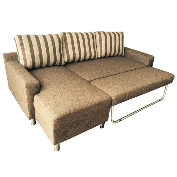 Kachy fabric convertible sectional sofa bed free for Chaise lounge convertible bed