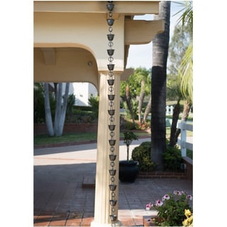 Monarch Aluminum Hammered Dark Bronze Rain Chain 8.5-Foot Inclusive of Installation Hanger