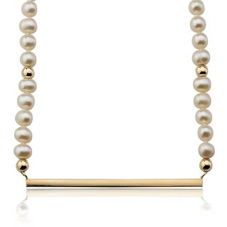 PearlAura Vanguard 14k Yellow Gold Pearl Bar Necklace (4-5mm)