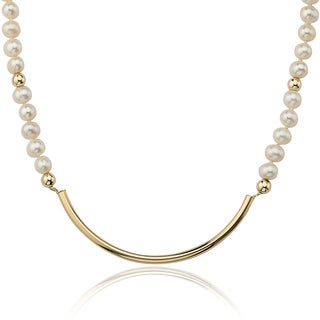 PearlAura Vanguard 14k Yellow Gold Pearl Necklace (4-5mm)