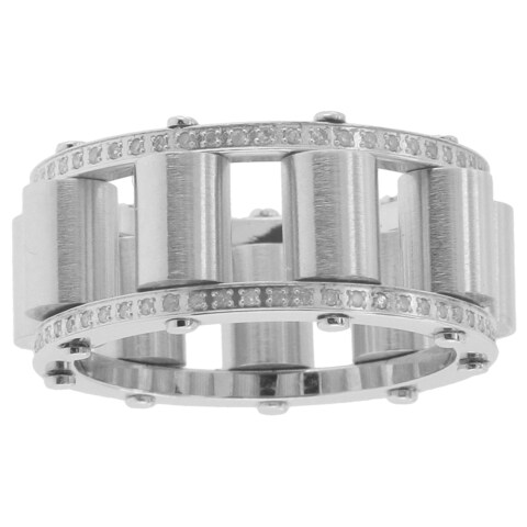 Stainless Steel 3/5ct TDW Diamond Rolling Ring