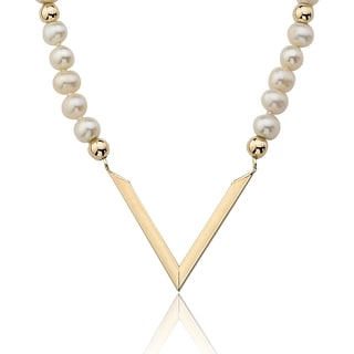 PearlAura Vanguard 14k Yellow Gold Pearl Triangle Necklace (4-5mm)