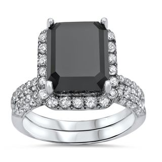 Noori 14k White Gold 5 3/5ct TDW Black Emerald-cut Diamond Bridal Ring Set