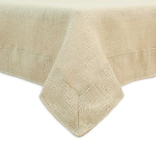 Burlap Natural 3-inch Mitered Border Hemmed Tablecloth