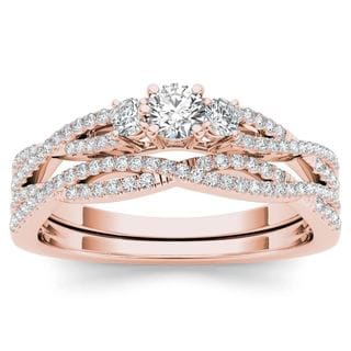 De Couer 14k Rose Gold 1/2ct TDW Diamond Three-Stone Anniversary Ring Set with One Band