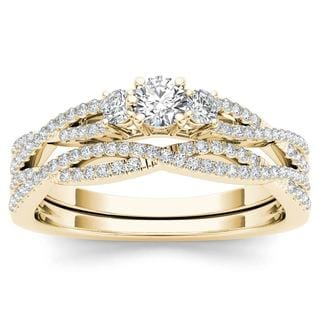 De Couer IGI Certified 14k Yellow Gold 1 2ct TDW Diamond Three Stone Anniversary Ring With One Band