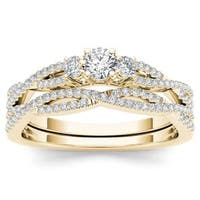 De Couer 14k Yellow Gold 1/2ct TDW Diamond Three-Stone Anniversary Ring with One Band