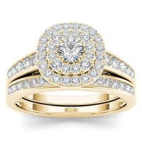 De Couer  IGI Certified 10k Yellow Gold 1ct TDW Diamond Double Halo Engagement Ring Set with One Band