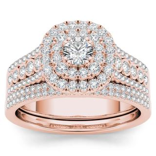 De Couer 10k Rose Gold 1ct TDW Diamond Double Halo Engagement Ring Set with One Band