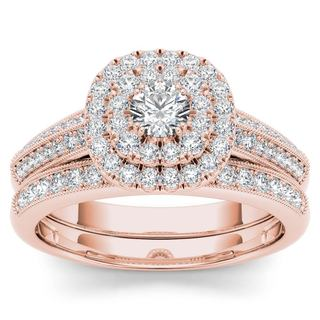De Couer 10k Rose Gold 7/8ct TDW Diamond Double Halo Engagement Ring Set with One Band - Pink