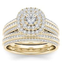 De Couer 10k Yellow Gold 1ct TDW Diamond Double Engagement Ring with One Band
