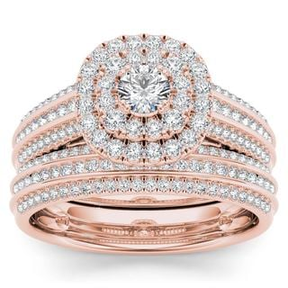 De Couer 10k Rose Gold 1ct TDW Diamond Double Engagement Ring with One Band (H-I, i2)