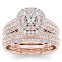De Couer 10k Rose Gold 1ct TDW Diamond Double Engagement Ring with One Band - Pink