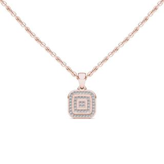 De Couer 10k Rose Gold 1/10ct TDW Diamond Halo Necklace