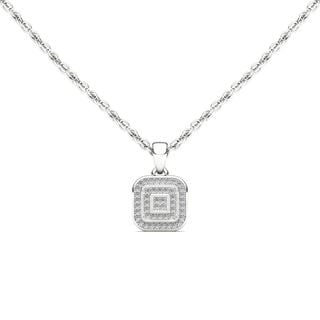 De Couer 10k White Gold 1/10ct TDW Diamond Halo Necklace (H-I, I2)