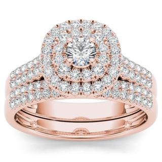 De Couer 10k Rose Gold 1ct TDW Diamond Double Halo Engagement Ring Set with One Band - Pink