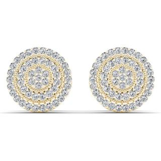 De Couer 10k Yellow Gold 1/4ct TDW Diamond Halo Earring (H-I, I2)