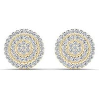 De Couer 10k Yellow Gold 1/4ct TDW Diamond Halo Earring