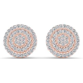 De Couer 10k Rose Gold 1/4ct TDW Diamond Halo Earring - Pink