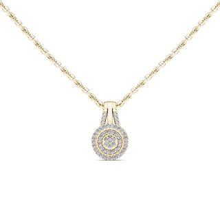 De Couer 10k Yellow Gold 1/8ct TDW Diamond Halo Necklace