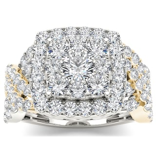 De Couer 14k Yellow Two-tone White Gold 2ct TDW Diamond Cluster Ring (H-I, I2)