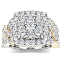 De Couer 14k Yellow Two-tone White Gold 2ct TDW Diamond Cluster Ring