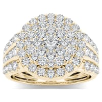 De Couer 10k Yellow Gold 2ct TDW Diamond Cluster Ring