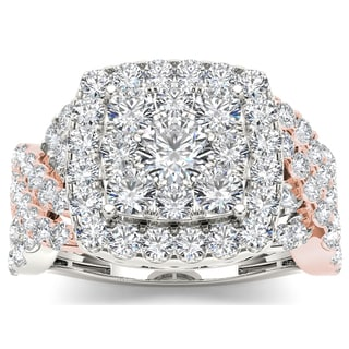 De Couer 14k Pink Two-tone White Gold 2ct TDW Diamond Cluster Ring