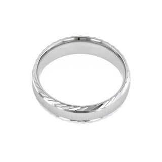14k White Gold Men's Cross Satin Center Wedding Band