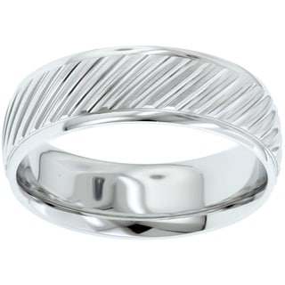14k White Gold Men's Classically Styled Modern Wedding Band