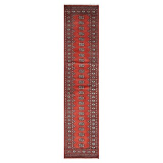 Herat Oriental Pakistani Hand-knotted Tribal Bokhara Red/ Ivory Wool Rug (2'7 x 11'4)