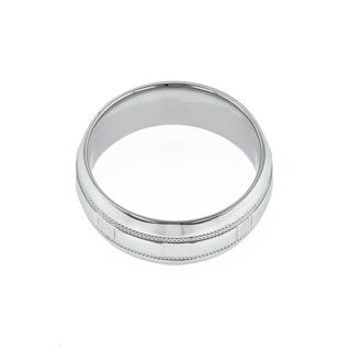 14k White Gold Men's Wedding Band with Milgrain Accents