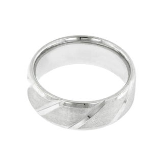 14k White Gold Men's Bevel Edge Wedding Band (Option: 6.75)