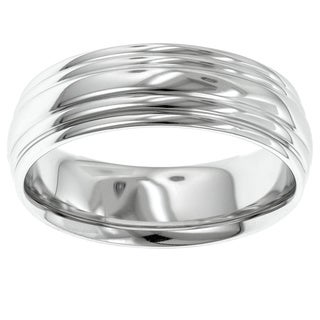 14k White Gold Men's Engraved 7mm Wedding Band