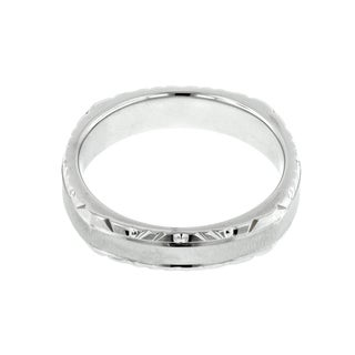 14k White Gold Men's Cross Satin Wedding Band