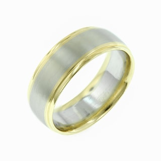 14k White Gold and Yellow Gold Men's Wedding Band
