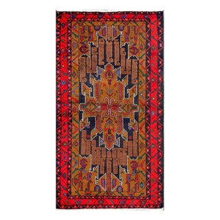 Herat Oriental Afghan Hand-Knotted Tribal Balouchi Navy/ Red Wool Rug (3'6 x 6'6)