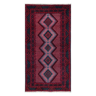 Herat Oriental Afghan Hand-Knotted Tribal Balouchi Navy/ Red Wool Rug (3'7 x 6'10)