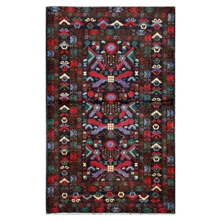 Herat Oriental Afghan Hand-Knotted Tribal Balouchi Wool Rug (3'8 x 5'11)