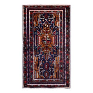 Herat Oriental Afghan Hand-Knotted Tribal Balouchi Navy/ Light Brown Wool Rug (3'10 x 6'6)