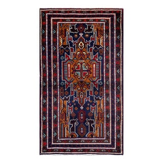Herat Oriental Afghan Hand-Knotted Tribal Balouchi Wool Rug (3'10 x 6'6)