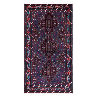 Herat Oriental Afghan Hand-Knotted Tribal Balouchi Wool Rug (3'8 x 6'8)