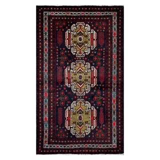 Herat Oriental Afghan Hand-Knotted Tribal Balouchi Navy/ Olive Wool Rug (3'11 x 6'8)