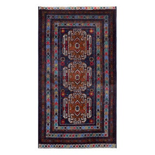 Herat Oriental Afghan Hand-Knotted Tribal Balouchi Navy/ Brown Wool Rug (3'10 x 6'8)