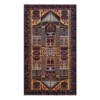 Herat Oriental Afghan Hand-Knotted Tribal Balouchi Wool Rug (3'9 x 6'6)