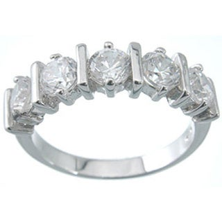 Platinum Finish Sterling Silver 1 1/2 TCW Cubic Zirconia Brilliant Band