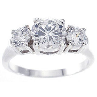 Rhodium-plated Sterling Silver Brilliant 3-stone Cubic Zirconia Ring